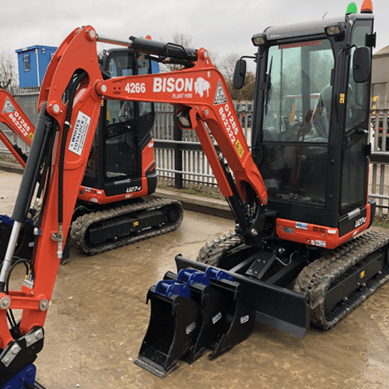 Kubota U27-4 mini excavators Bison Plant Hire Swindon Plant Hire