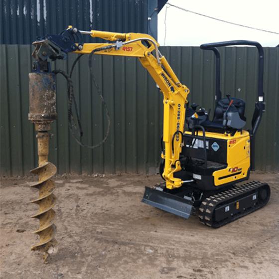 Hydraulic auger excavator fitment Attachments Bison Plant Hire Swindon Plant Hire